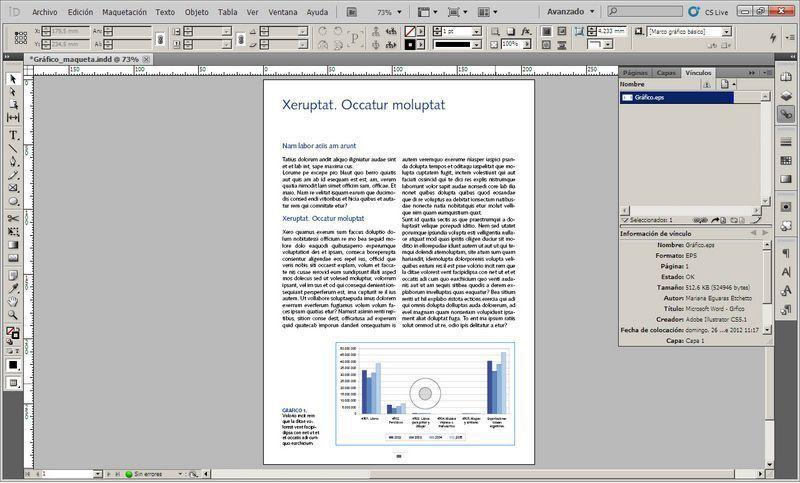 Vista de la maquetación del gráfico de Excel luego de pasar por Word e Illustrator, en Indesign