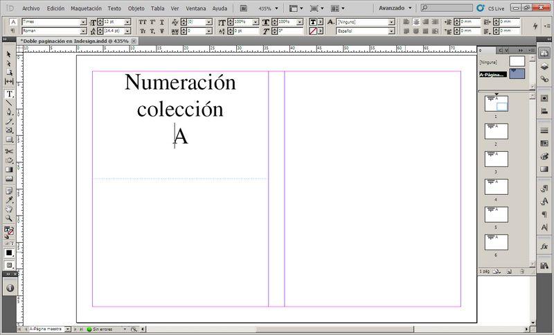 Doble numeración o paginación Indesign 2