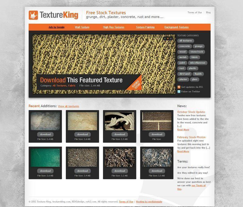 Captura de pantalla de la página web de Texture King