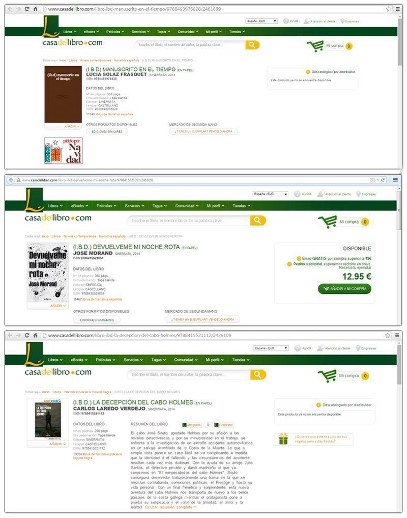 Ejemplos (malos) de fichas de libros de sinerrata en Casa del Libro
