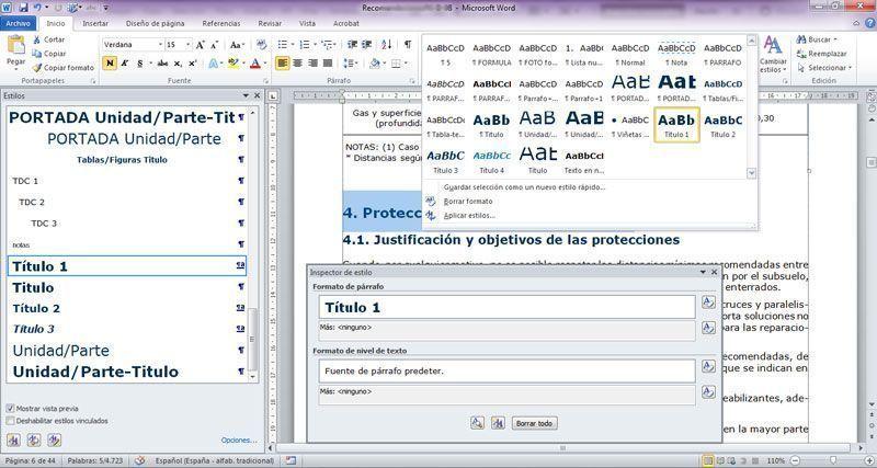 Herramientas disponibles en el programa para gestionar los estilos de Word