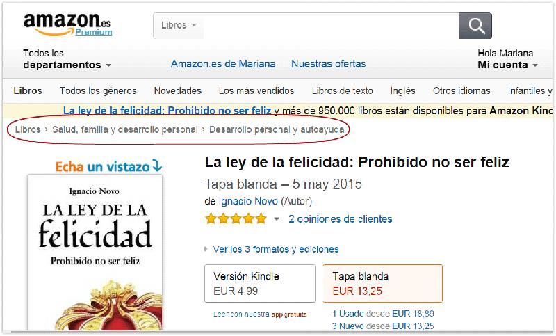 Categorías BISAC refejadas en la tienda online de Amazon