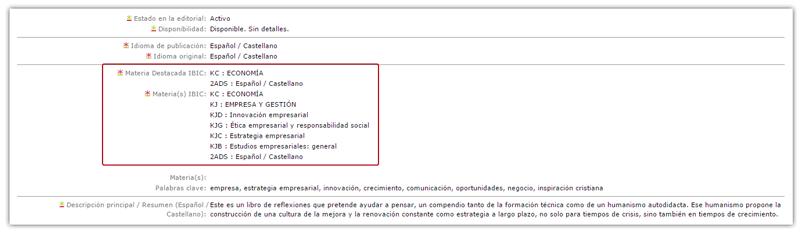 Catalogación de materias IBIC en un ISBN.