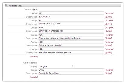 Selección de materias IBIC durante la solicitud de un ISBN para un libro.