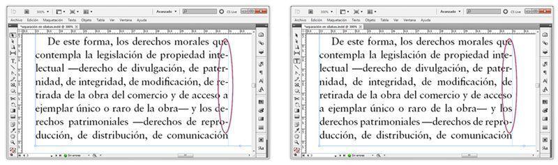 Exceso de separación por sílabas en un párrafo; también dificulta la lectura