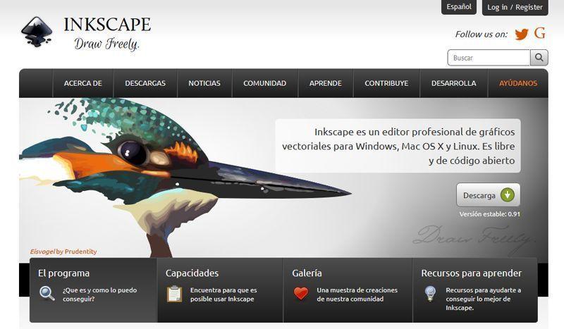 Captura de pantalla de la página web de Inkscape