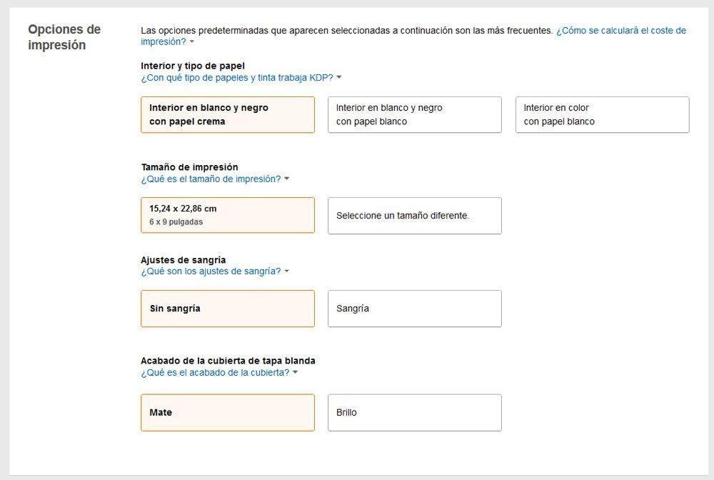 Cómo publicar un libro de tapa blanda con KDP de Amazon - Opciones de impresión