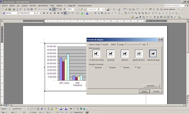 Gráfico de Excel colocado en Word