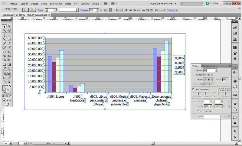 Gráfico de Excel, luego de pasar por Word, colocado en Illustrator