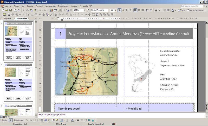 Ejemplo de maquetación en PowerPoint