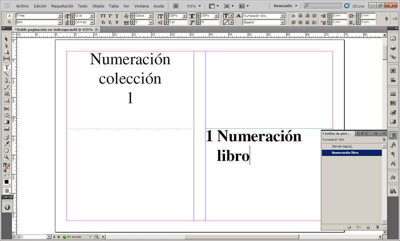 Doble numeración o paginación Indesign 4