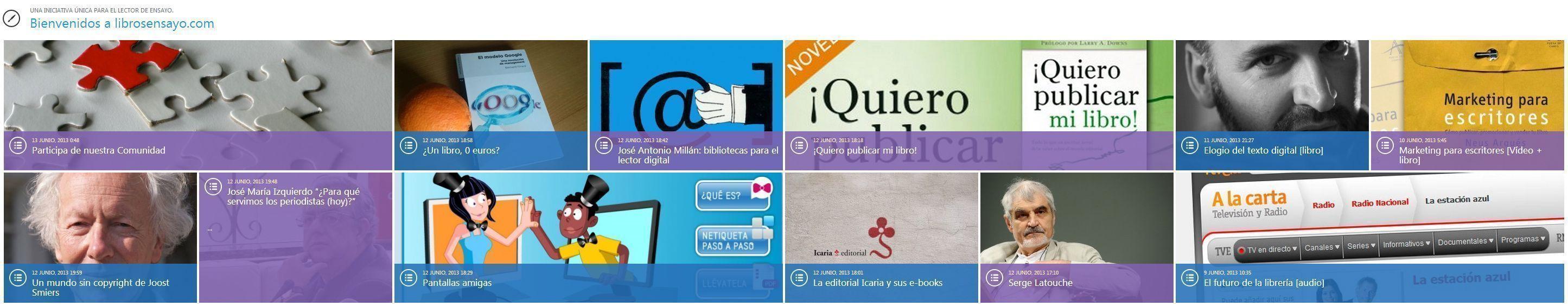 Captura de pantalla de la página web de Libros de ensayo