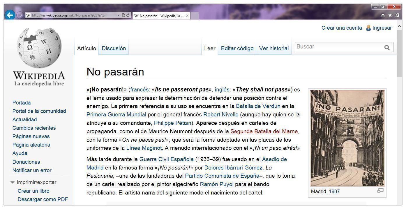 """""""No pasarán"""" [los editores] Wikipedia"""