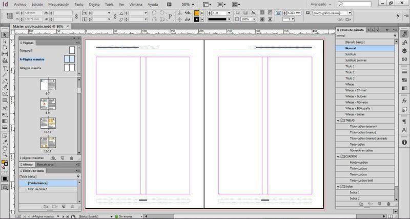 Ejemplo de un archivo máster creado para un manual de usuario y contratado en un presupuesto de diseño y maquetación.
