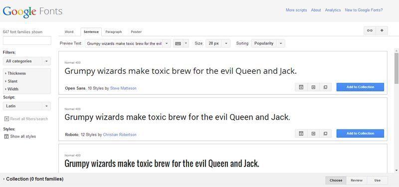 Captura de pantalla del home de Google Fonts