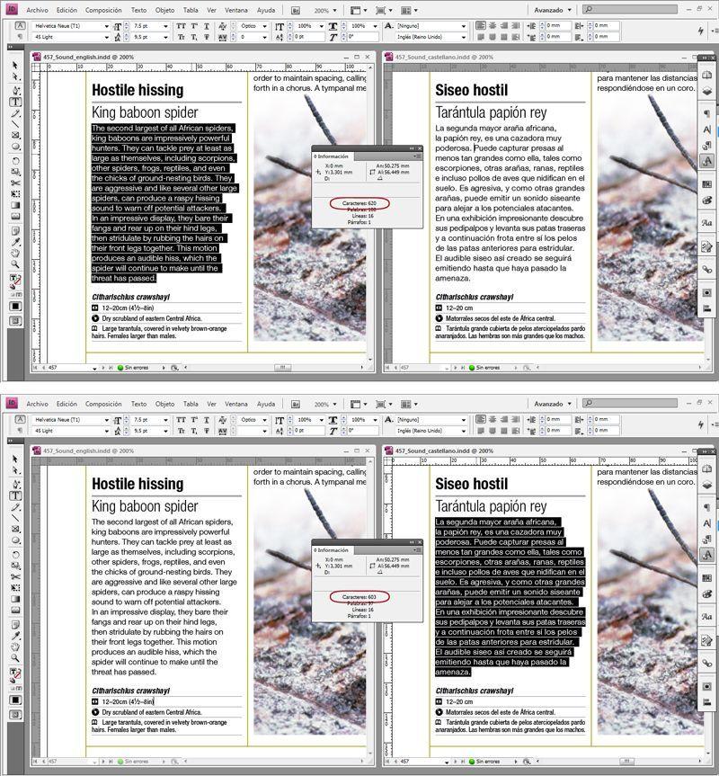 Ejemplo de recuento de caracteres en Indesign para una publicación en dos idiomas, como parte de los procesos de edición de un libros