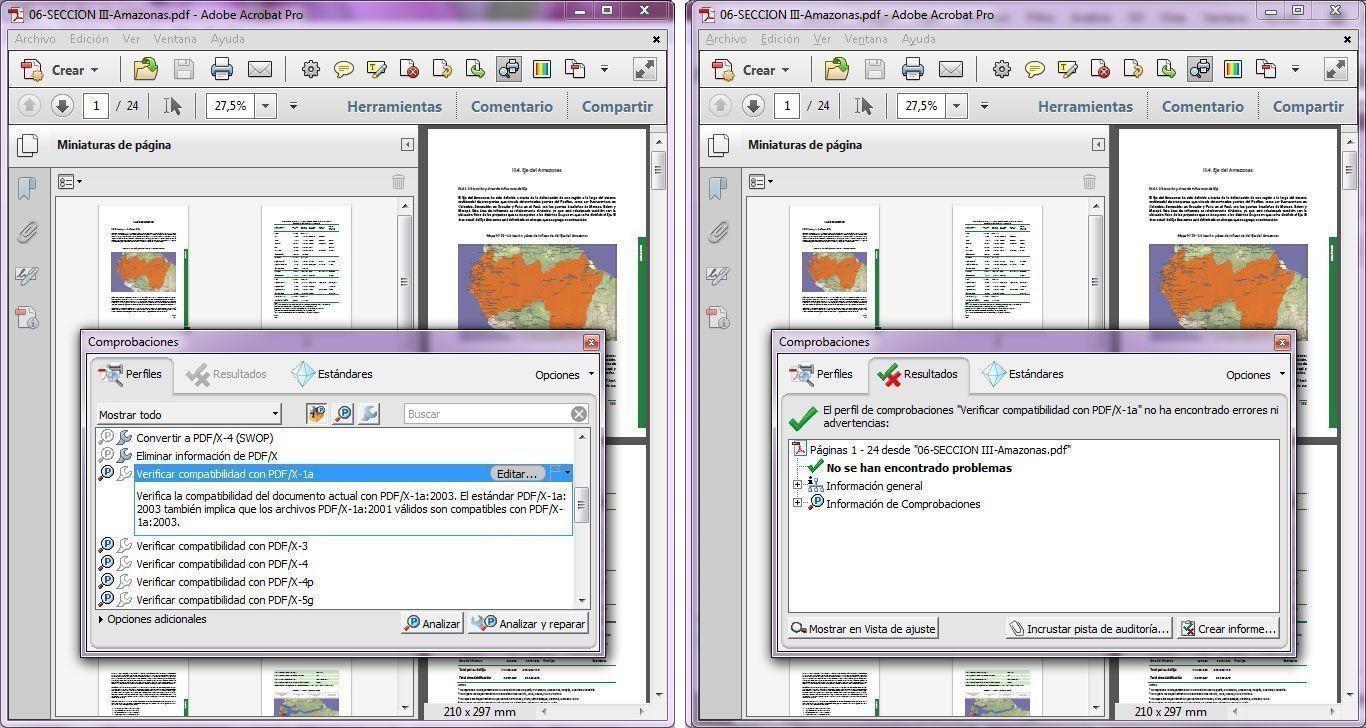 Comprobación en Adobe Professional de PDF para imprenta