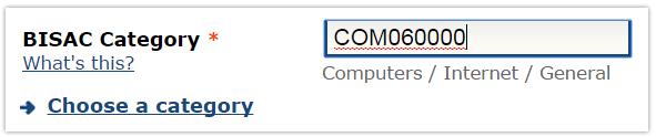 Categorías BISAC, añadir número en CreateSpace