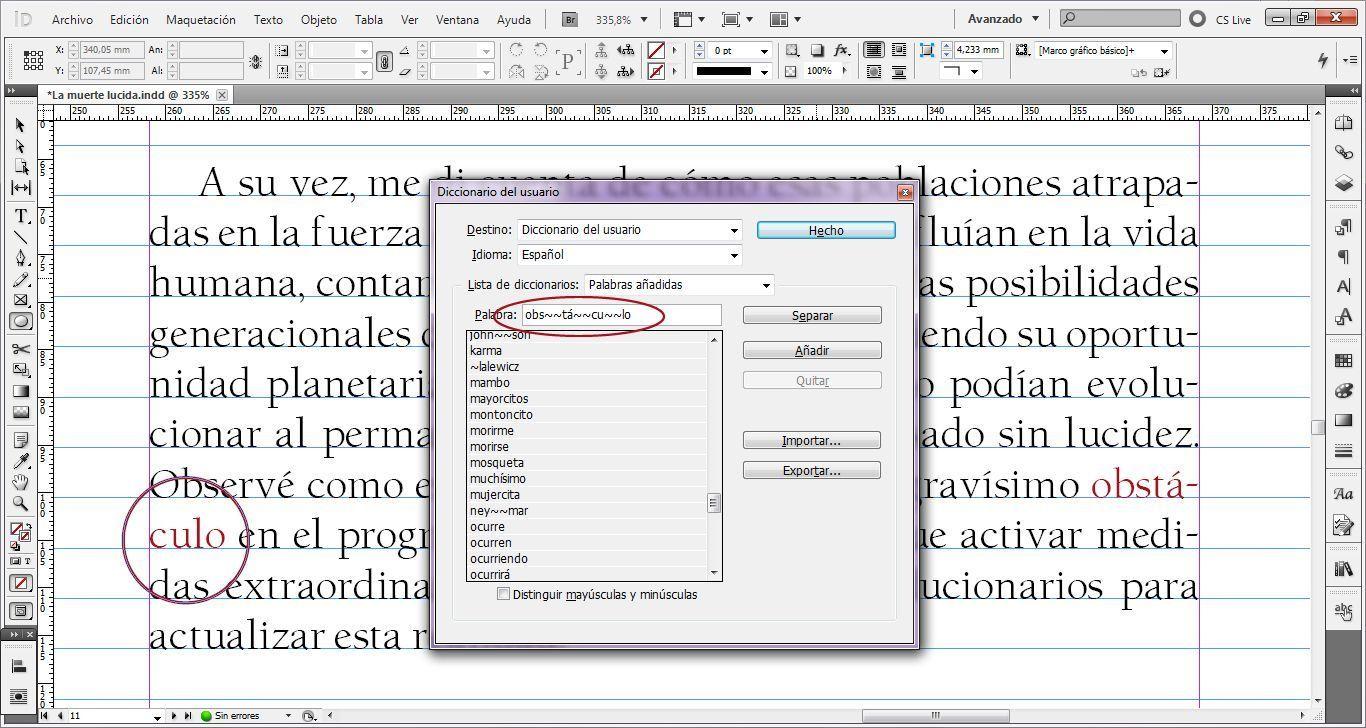 Caso práctico sobre cómo usar el diccionario del usuario en Indesign para evitar errores de maquetación 2