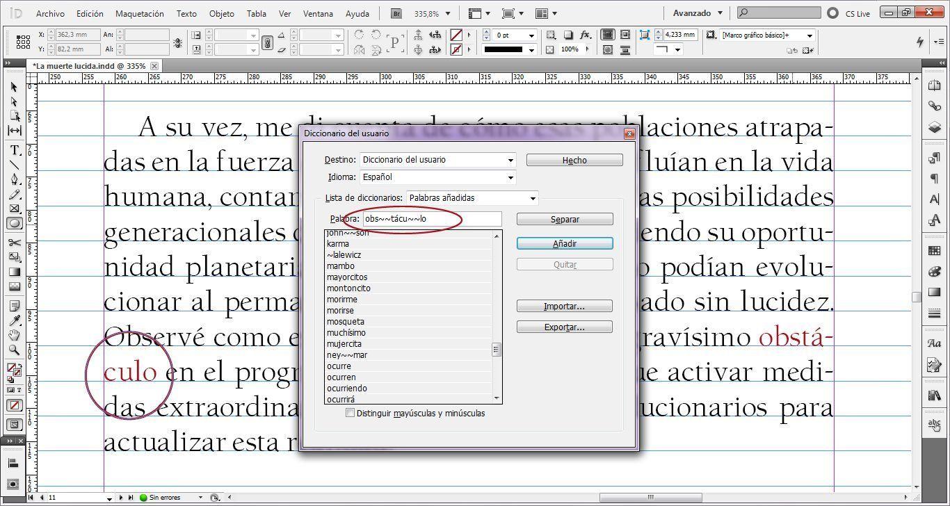 Caso práctico sobre cómo usar el diccionario del usuario en Indesign para evitar errores de maquetación 3