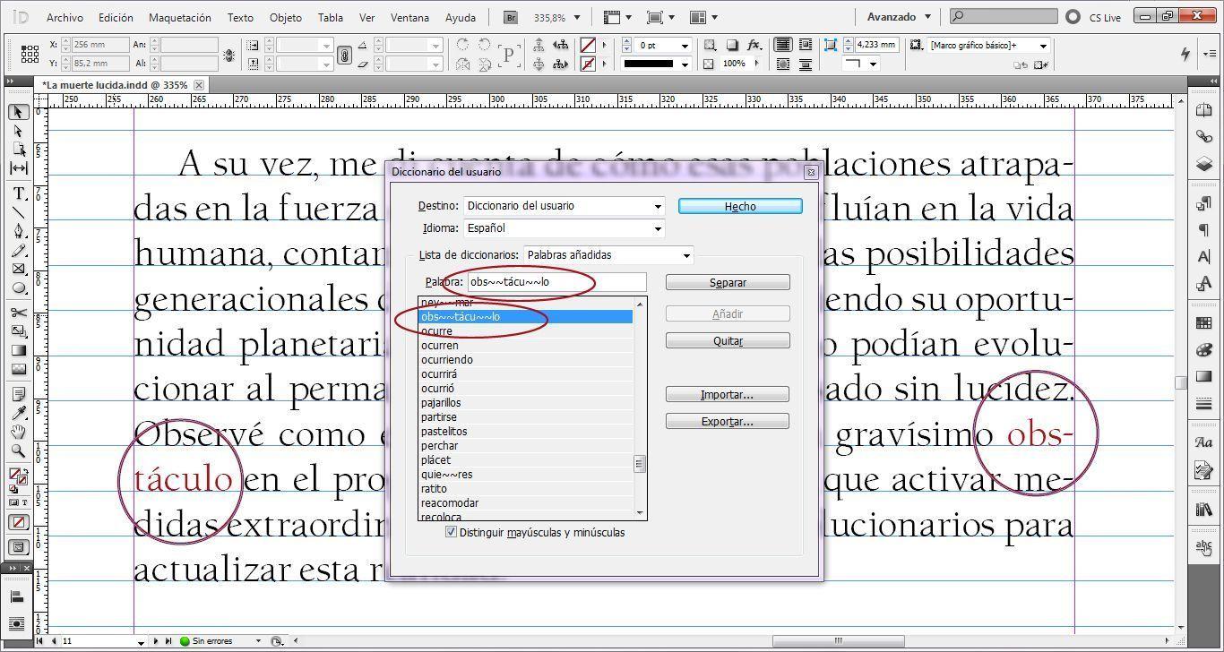 Cómo usar el diccionario del usuario en InDesign para evitar errores de maquetación
