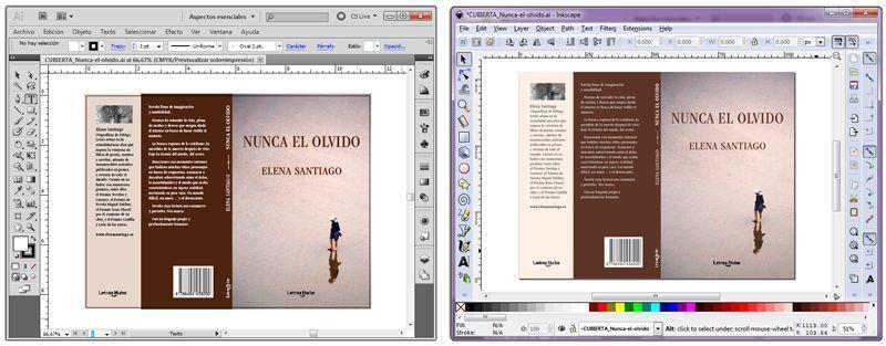 Un mismo archivo visualizado en Illustrator y en Inkscape portable.