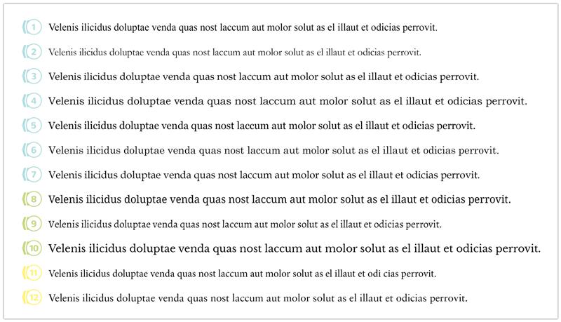 Líneas de texto con diferentes tipografías serif para libros impresos