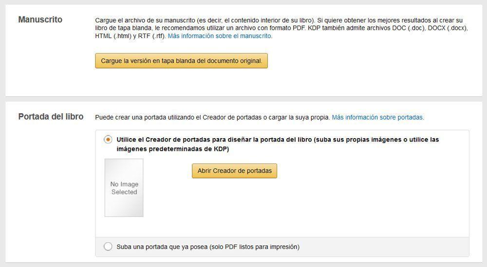 Cómo publicar un libro de tapa blanda con KDP de Amazon - Carga de archivos