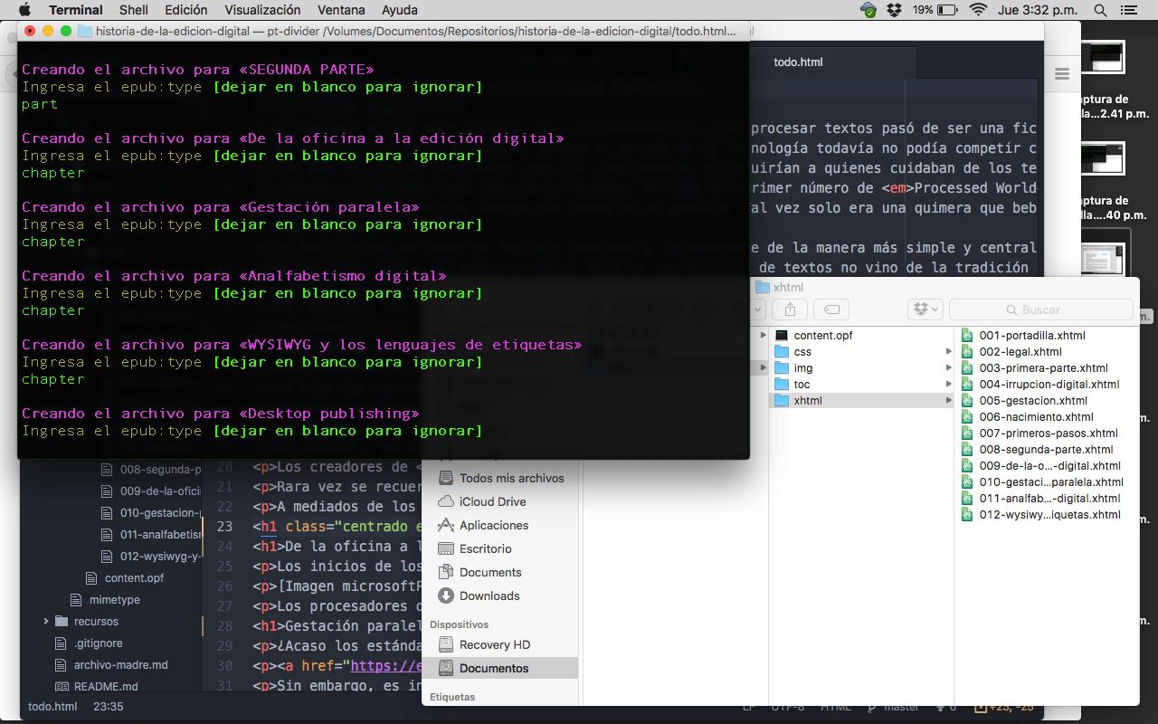 Cómo generar cuatro formatos de un contenido en un día - División del archivo HTML, 15:32 h