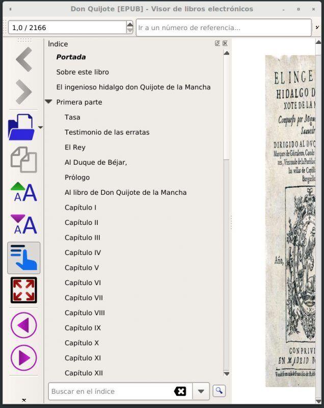 EPUB con una tabla de contenidos expandida.