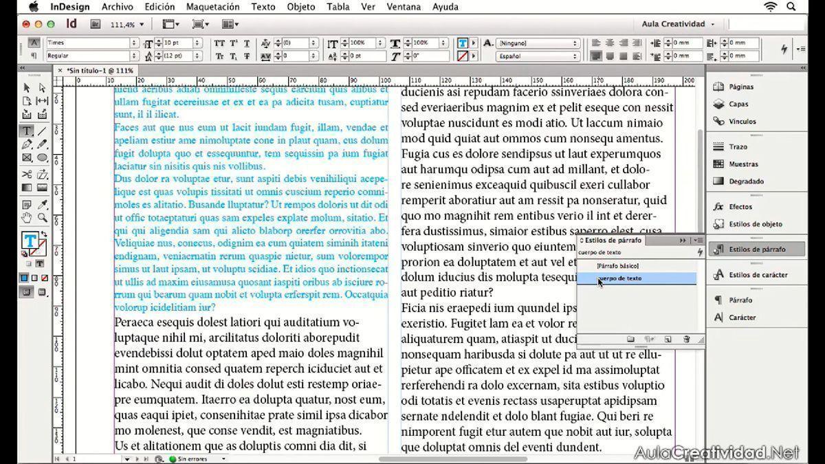 Cómo configurar estilos de párrafo y carácter en Word e InDesign