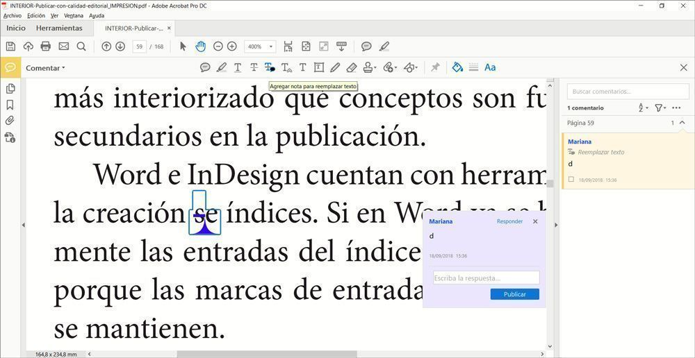 Correcciones efectuadas sobre un PDF - Indicaciones para el maquetador