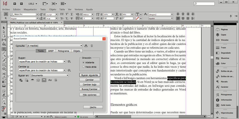 Introducir una corrección mediante la herramienta Buscar/Cambiar en InDesign