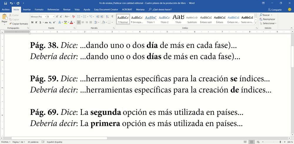 Fe de erratas de Publicar con calidad editorial - Cuatro pilares de la producción de un libro