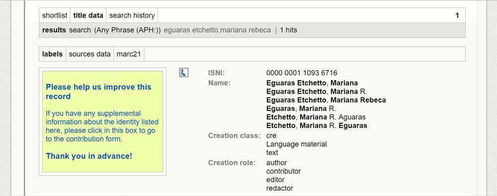 ISNI de Mariana Eguaras: 0000 0001 1093 6716