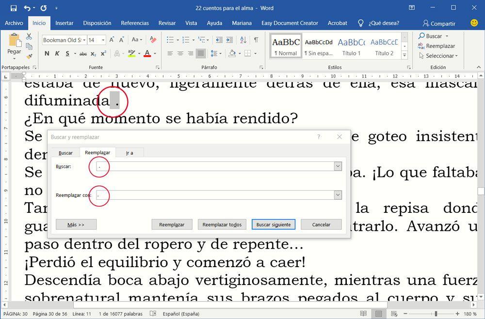 Cómo preparar un documento para maquetar - Buscar y reemplazar