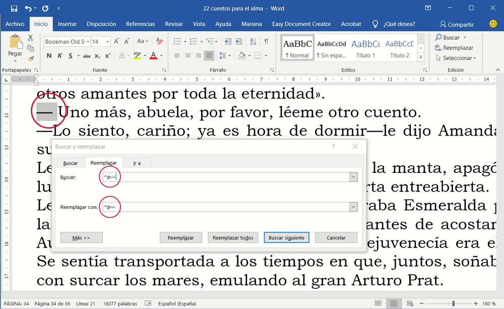 Cómo preparar un documento para maquetar - Raya al inicio de un diálogo con espacio