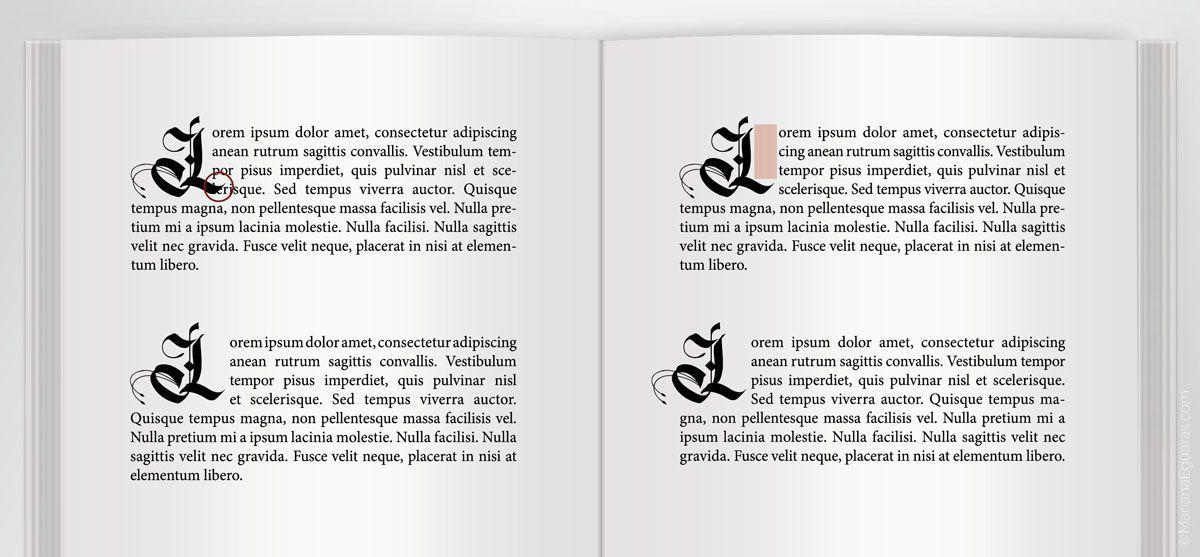 Comparativa en el uso de letra góticas para capitulares