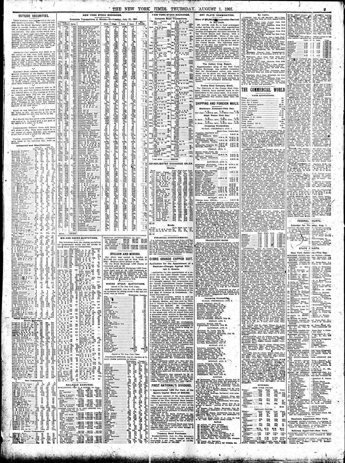 Página 9 de The New York Times, del 1 de agosto de 1901