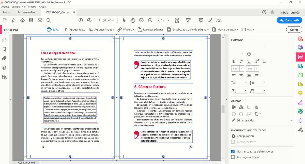Edición de un contenido en PDF.