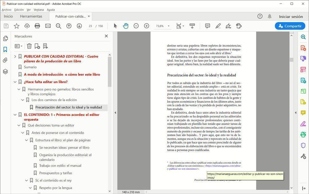 """Ejemplo de visualización del ebook """"Publicar con calidad editorial"""" en PDF."""