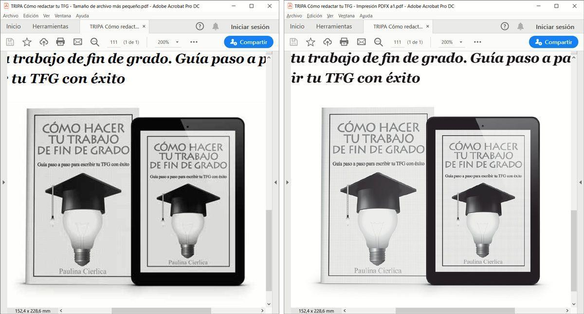 Diferencia de visualización de la página 111 del libro Cómo redactar tu trabajo de fin de grado: 900 frases listas para usar en tu TFG, TFM o artículo científico, de Paulina Cierlica.