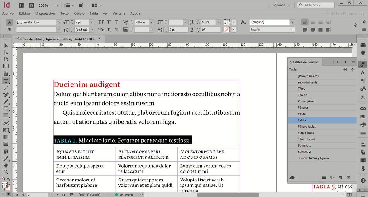 Cómo crear varios índices de tablas y figuras en InDesign - Aplicar estilos a los párrafos