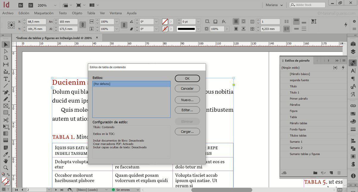 Cómo crear varios índices de tablas y figuras en InDesign - Crear estilos de TDC