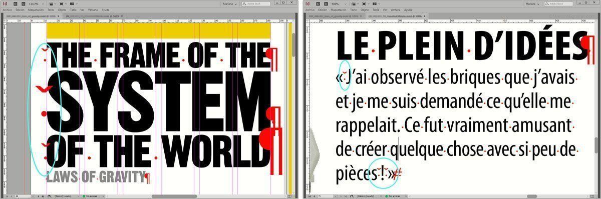 Ejemplo de usos del espacio fino para alinear titulares de artículos y en textos en francés