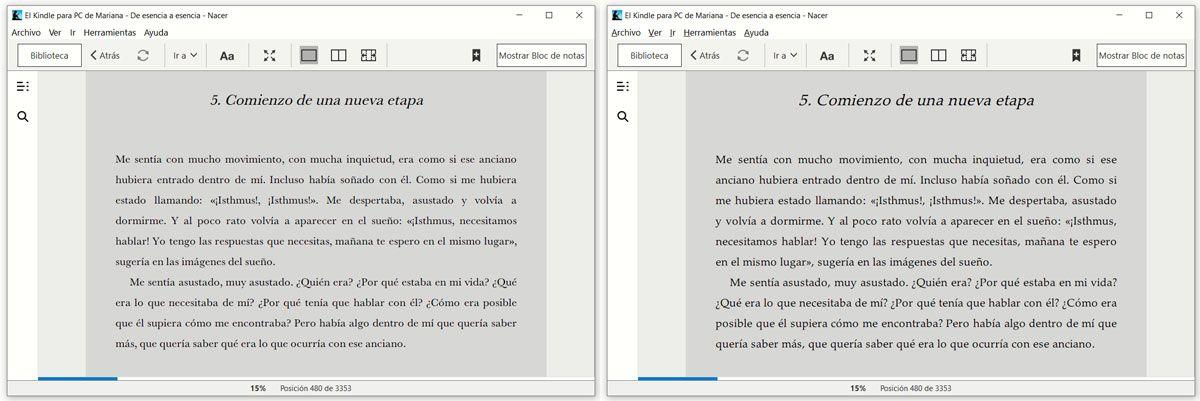 Comparativa de páginas según la tipografía usada para leer un ebook