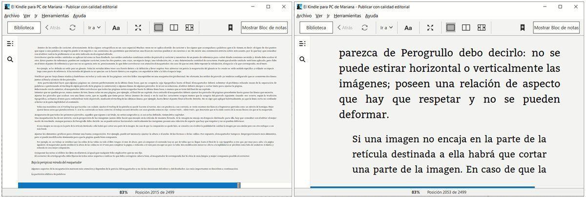 Comparativa de tamaño de letra en los ebooks