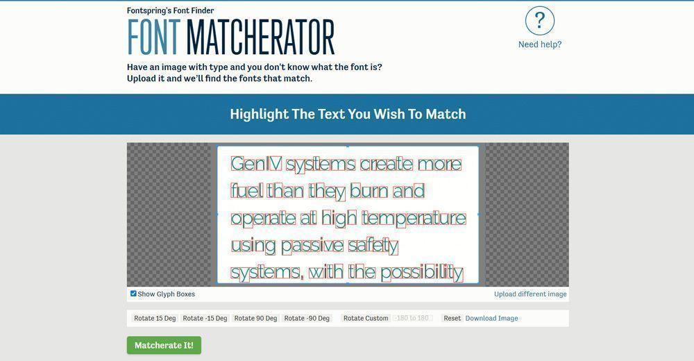 Captura de pantalla de Font Matcherator