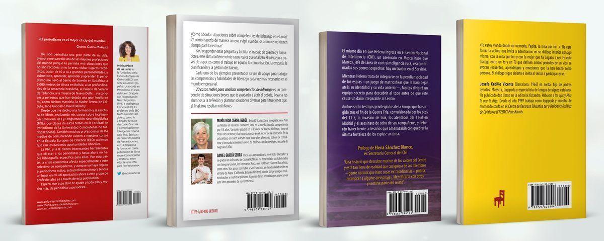 Contracubiertas de cuatro libros con ejemplos de biografía de autor