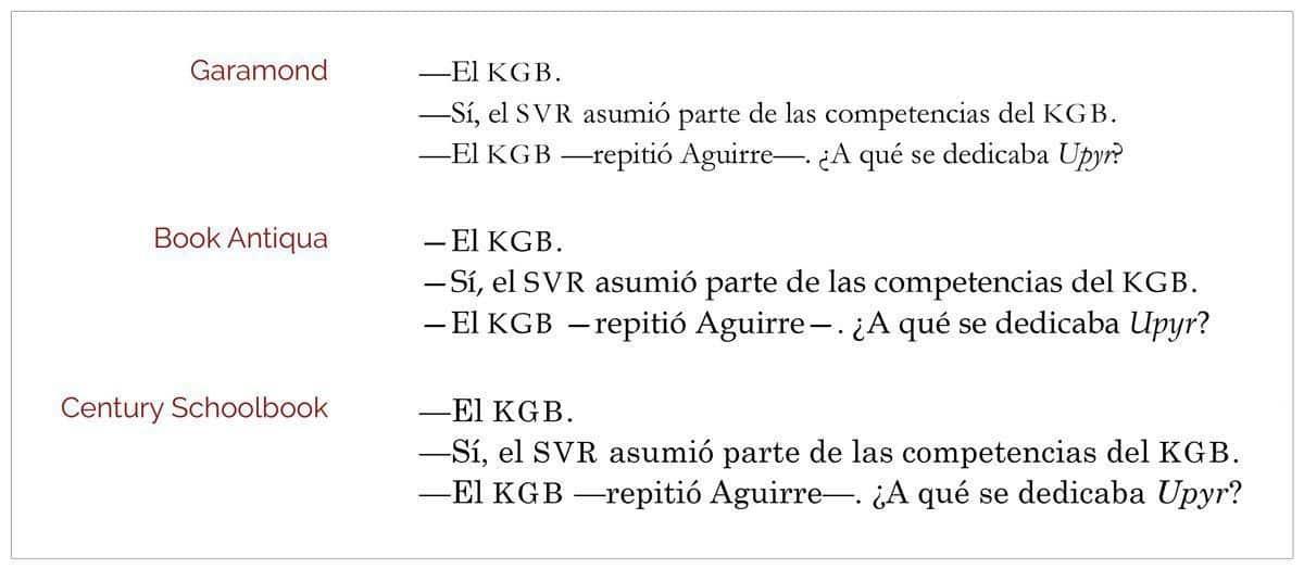 Ejemplos de largo de las rayas según la tipografía